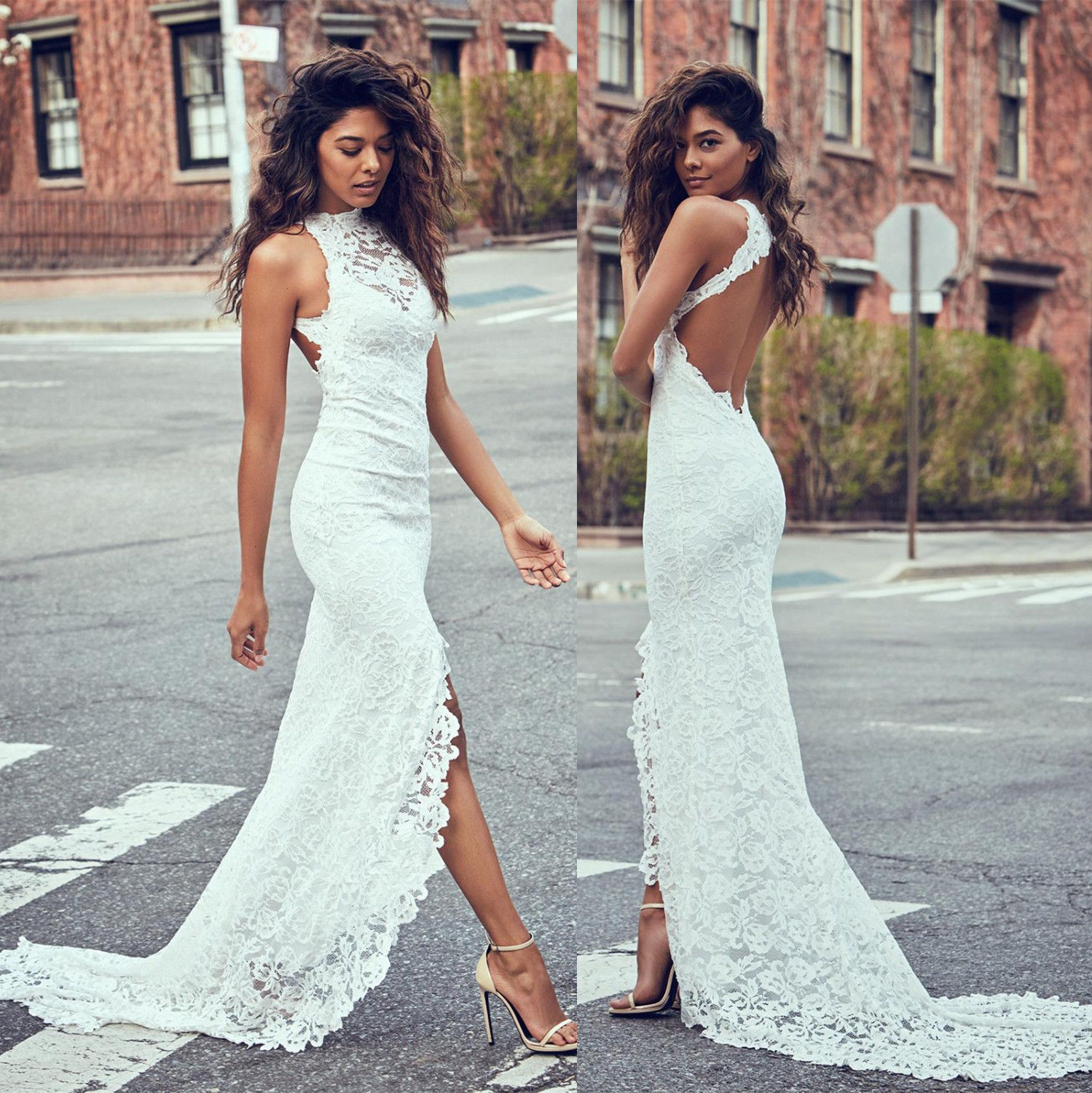 new lace wedding dress beach halter backless bridal gown