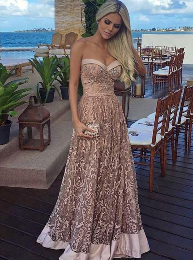 Unique Evening Dress A-Line Prom Dresses Champagne Lace Prom Dress ...