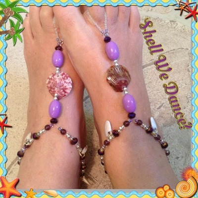 #50 Barefoot Sandals - purple, shells