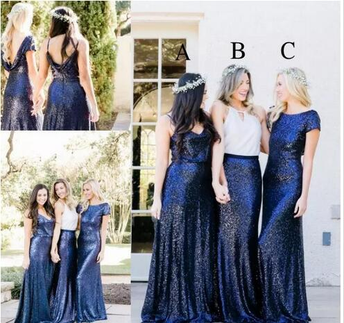 2018 Royal Blue Sequined Long Bridesmaid Dresses Boho Country Style ...