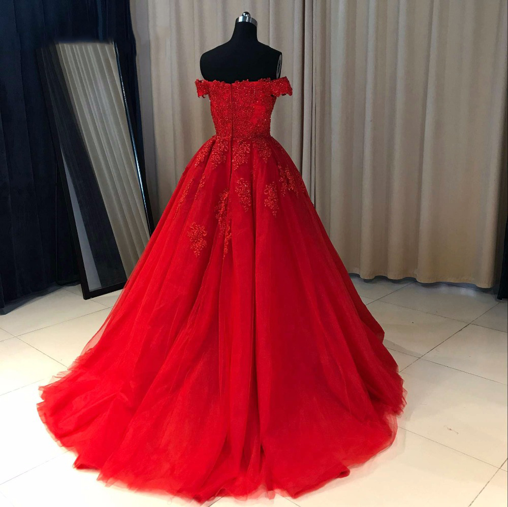 Charming Long Prom Dress, Red Tulle Ball Gown Prom Dresses with ...