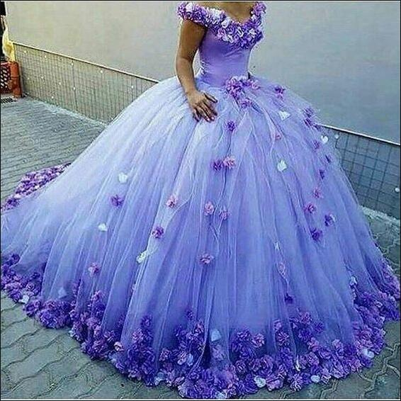 Off the Shoulder Quinceanera Dresses,Ball Gown Dress with Flowers ...