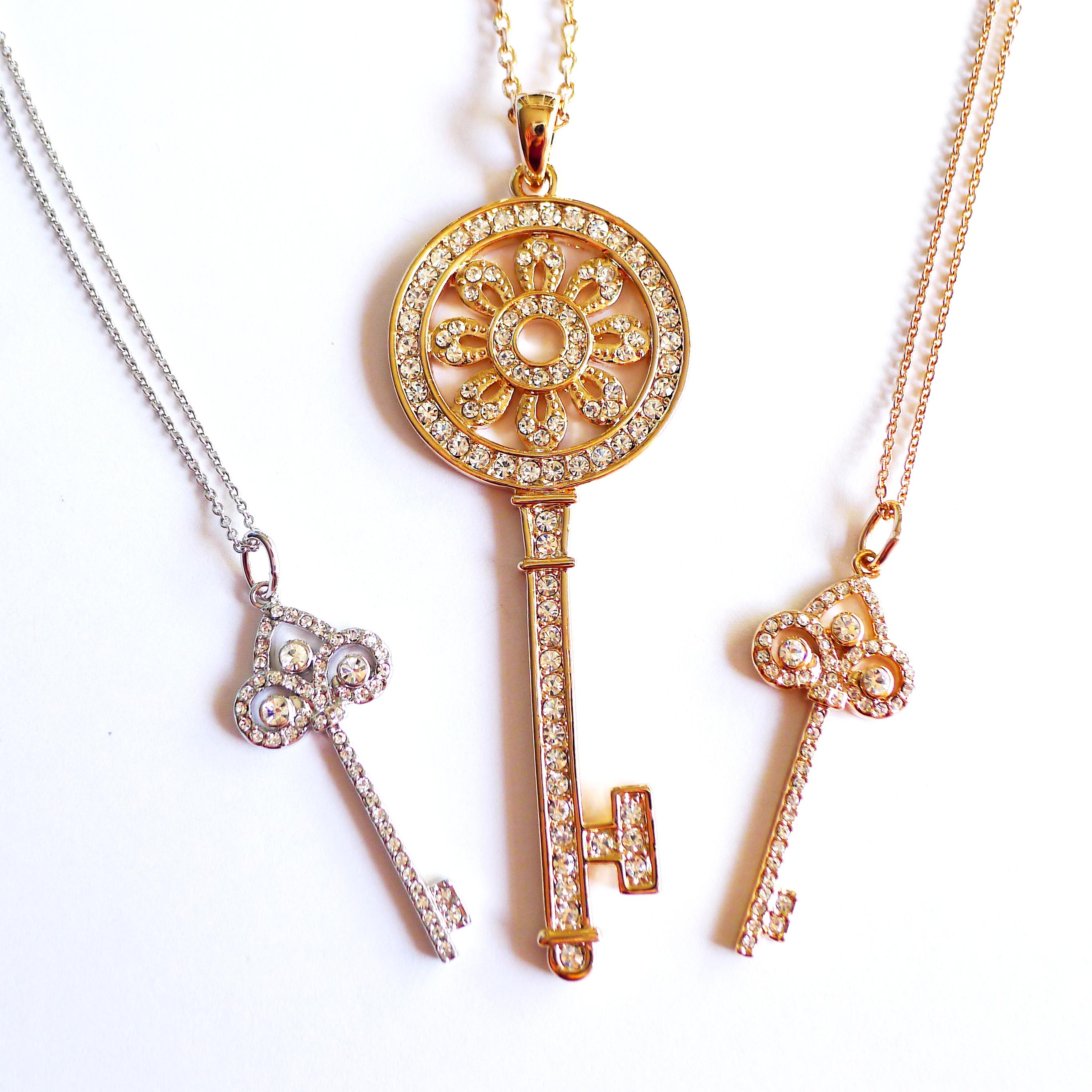 SMITH: Fleur De Lis Key Pendant with Rose Gold Chain ...