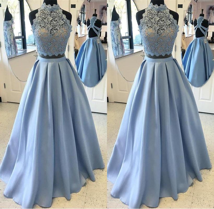 Elegant 2 Pieces Lace Satin A-line Prom Dresses,Simple Cheap Prom ...