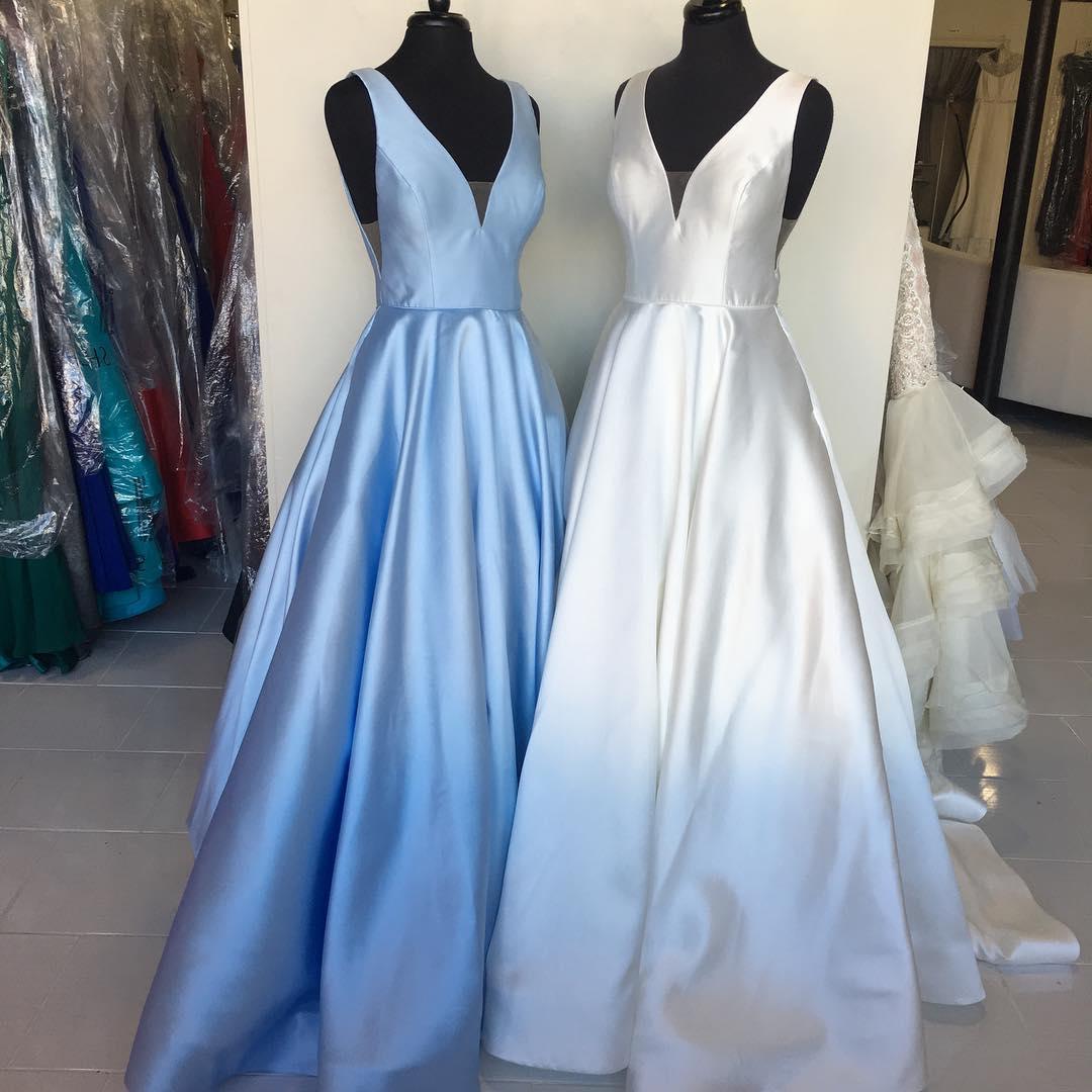 Simple A Line Deep V Neck Light Blue/White Satin Prom/Evening Dress ...