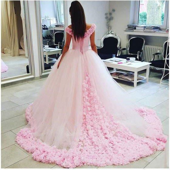 Ball Gown Prom Dressoff Shoulder Prom Gownpink Tulle Flowers