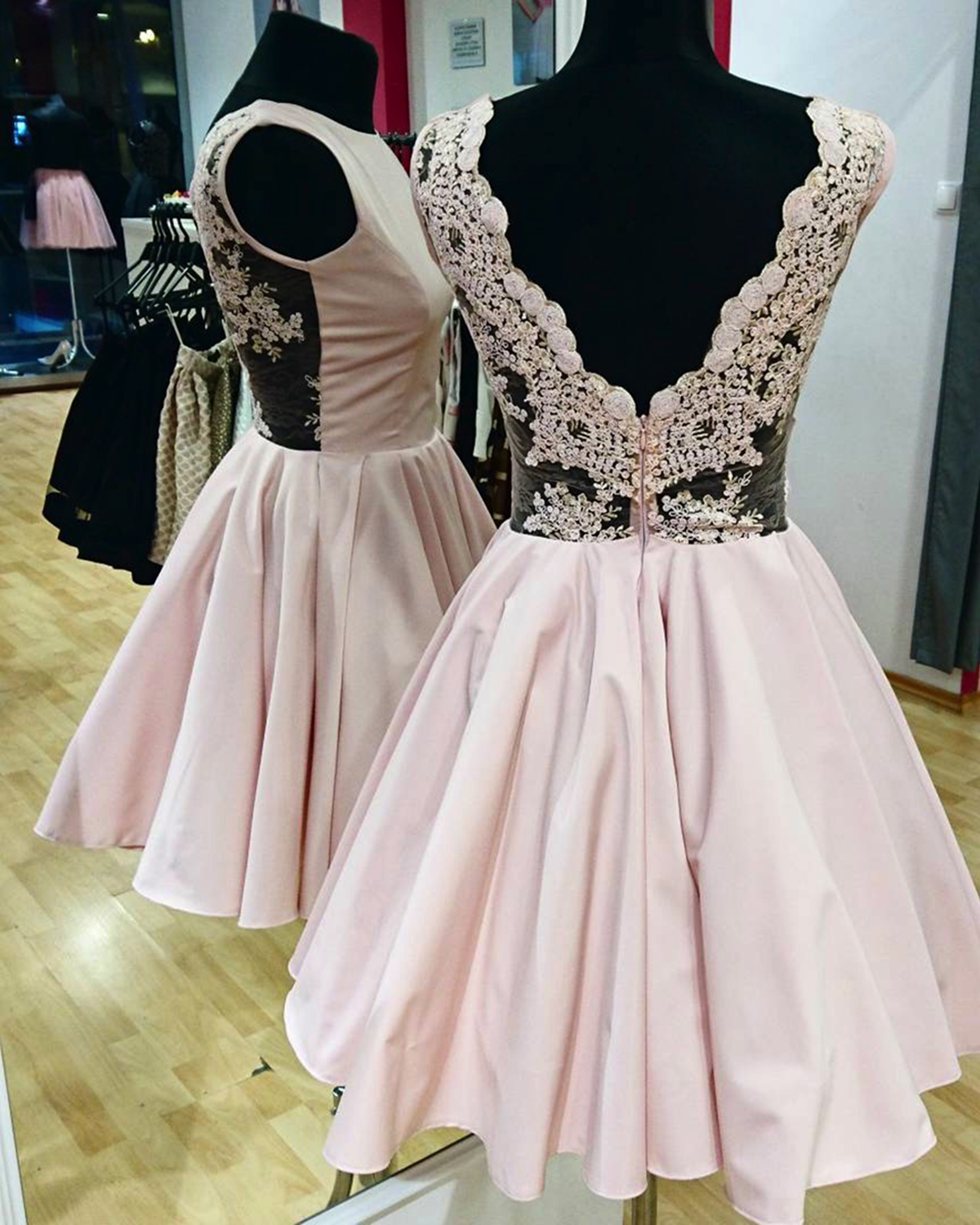 Cute pink satin v back short homecoming dress mini lace cute pink satin v back short homecoming dress mini lace bridesmaid dresses ombrellifo Gallery