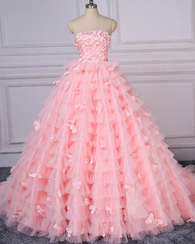 Unique pink tulle strapless long 3D lace appliques graduation dress ...