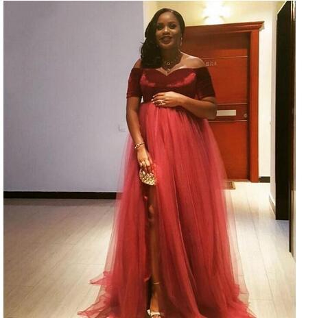 2018 Maternity Evening Dresses Velvet Short Sleeves Plus Size Prom ...