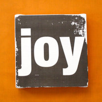 "Subway Art Wall Hanging Canvas 6"" x 6"" - JOY - Inspirational Art"