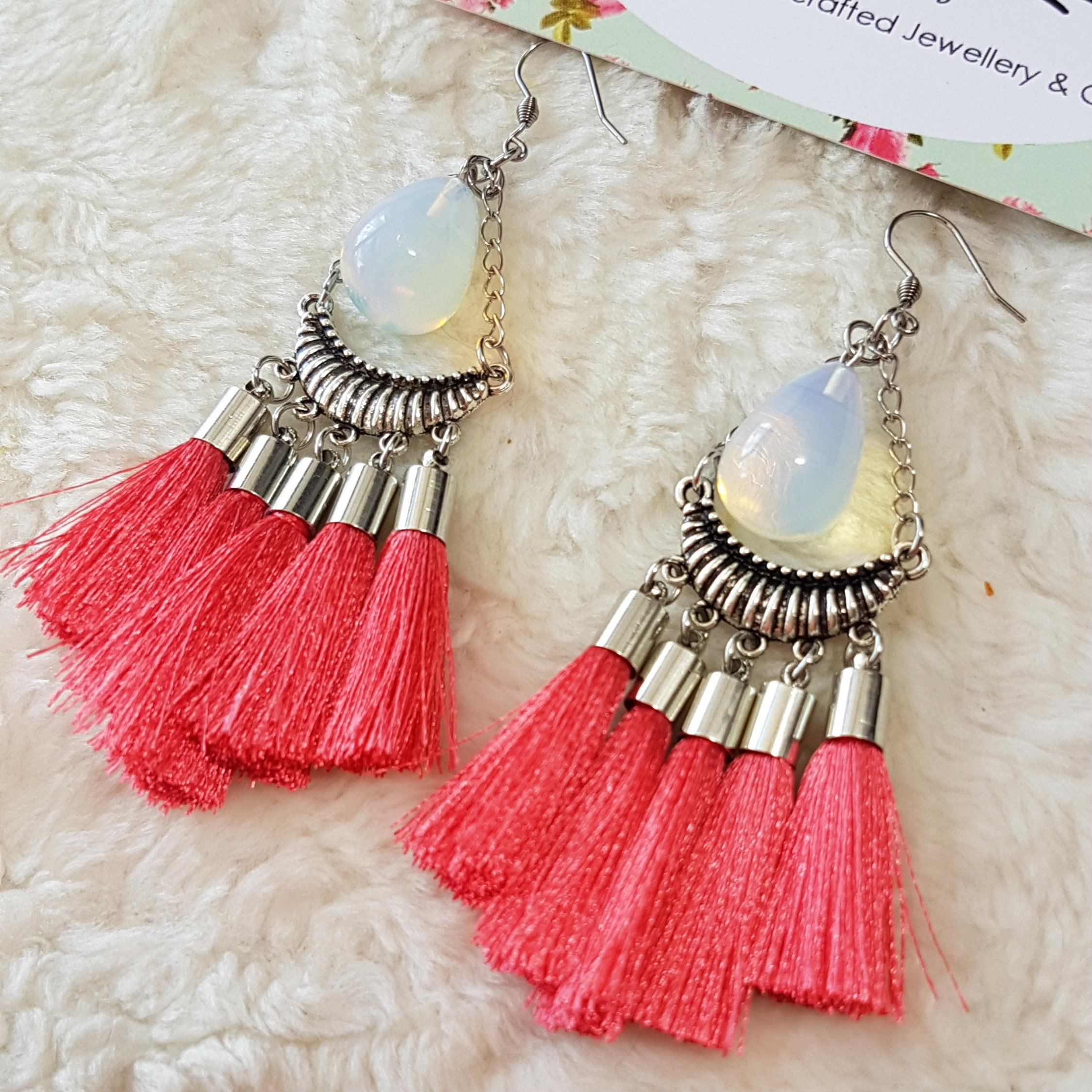 dear keaton earrings dara product tassel rose tassle