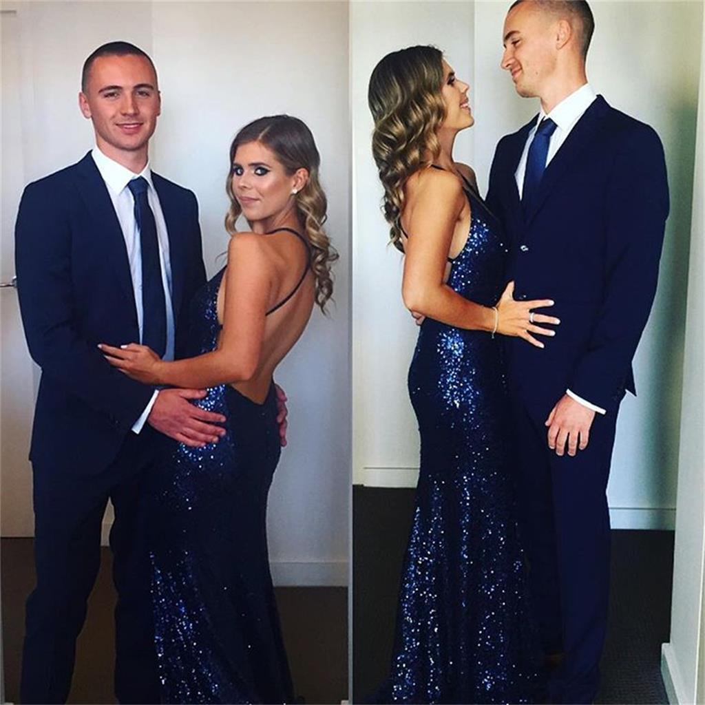 Custom Made Navy Blue Prom Dress,Spaghetti Straps Evening Dress ...