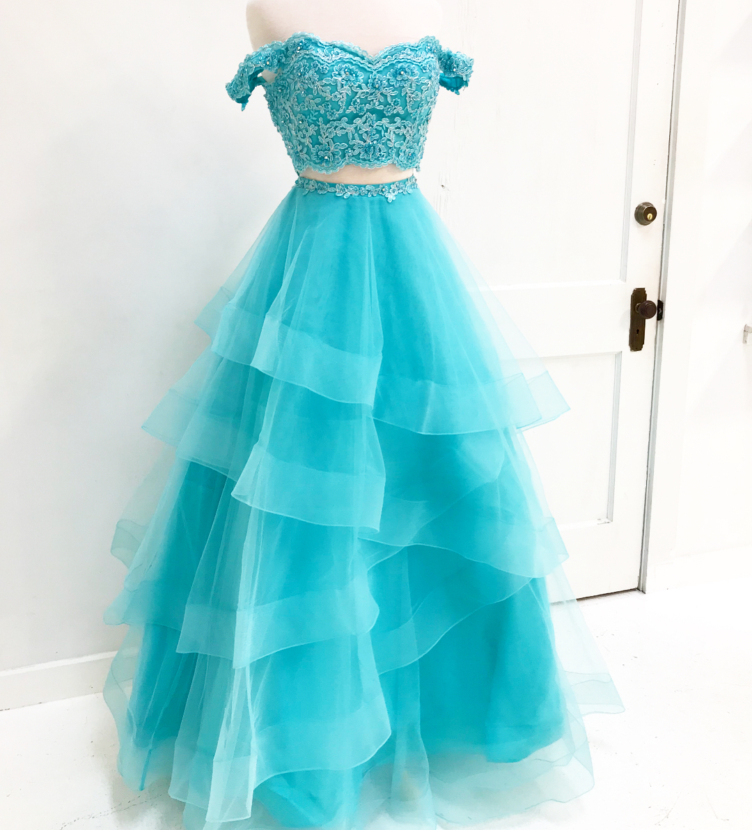 Off Shoulder Two piece Blue Long Prom Dress,Prom Dresses,Evening ...
