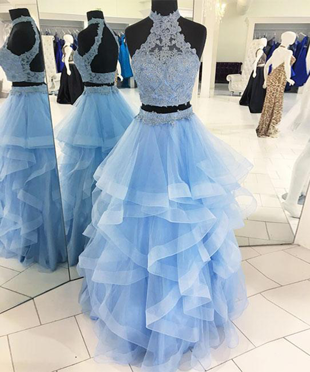 Cheap Prom Dresses by SweetheartDress · Ice blue tulle two pieces ...