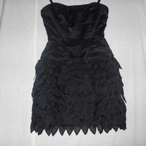 BCBG Runway Corset BLACK Silk Organza Cocktail Dress Size0