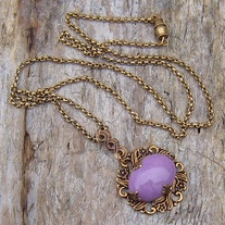 Lavender Stone and Antique Gold Pendant with Necklace