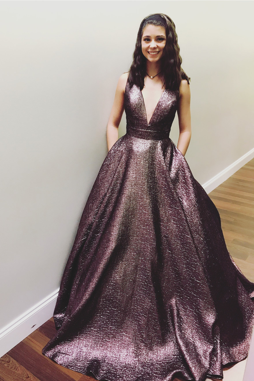Elegant V Neck Chocolate Long Prom Dress Ball Gown · LovePromDresses ...