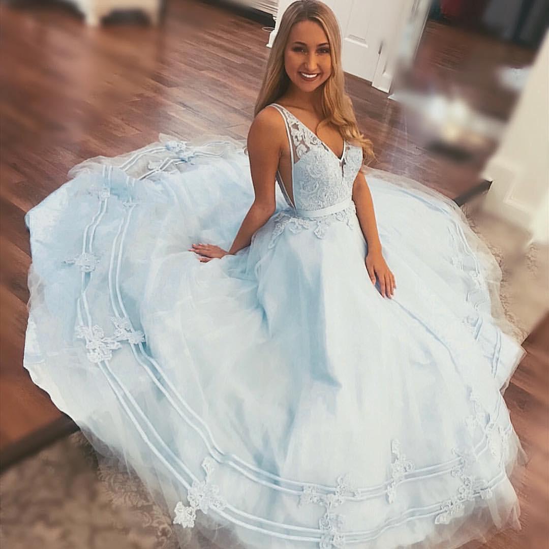 Princess A-line Blue Long Party Dress · dreamdressy · Online Store ...