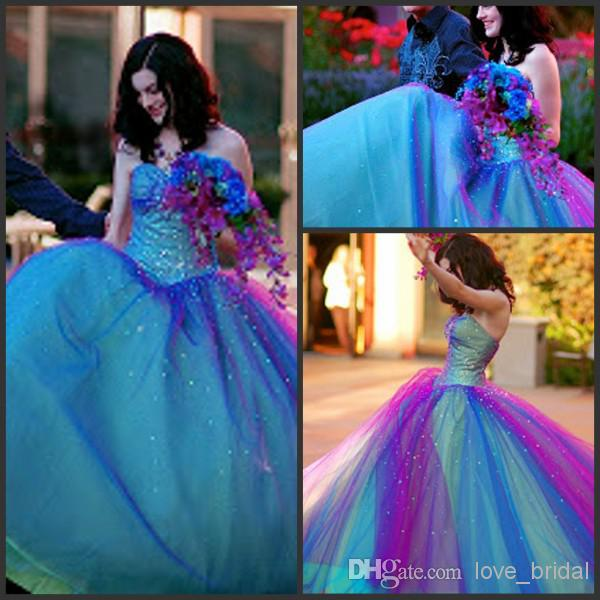 Charming Ball Gown Sweetheart Tulle Floor Length Quinceanera Dress Prom  Gown from yukesdress