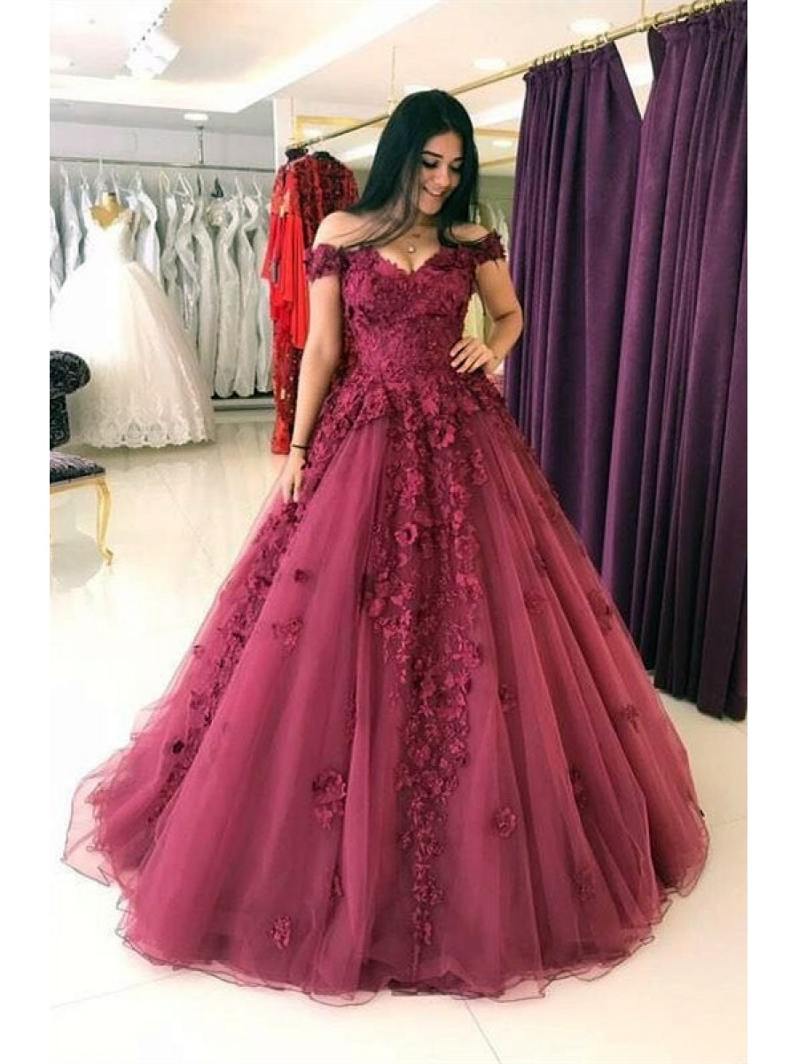 Elegant A Line Ball Gown Off the Shoulder Burgundy Tulle Long Prom ...