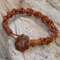 Brown Macrame Leather Bracelet with Carved Horn Button Toggle