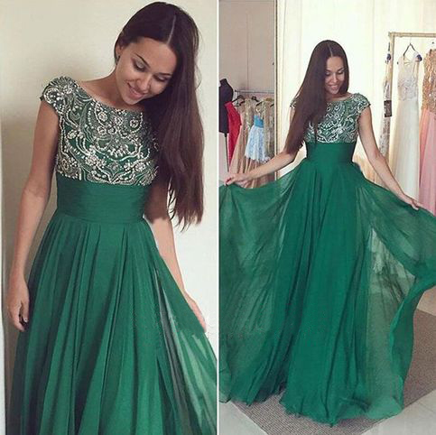 Newest Beaded Green Prom Dresses,Long