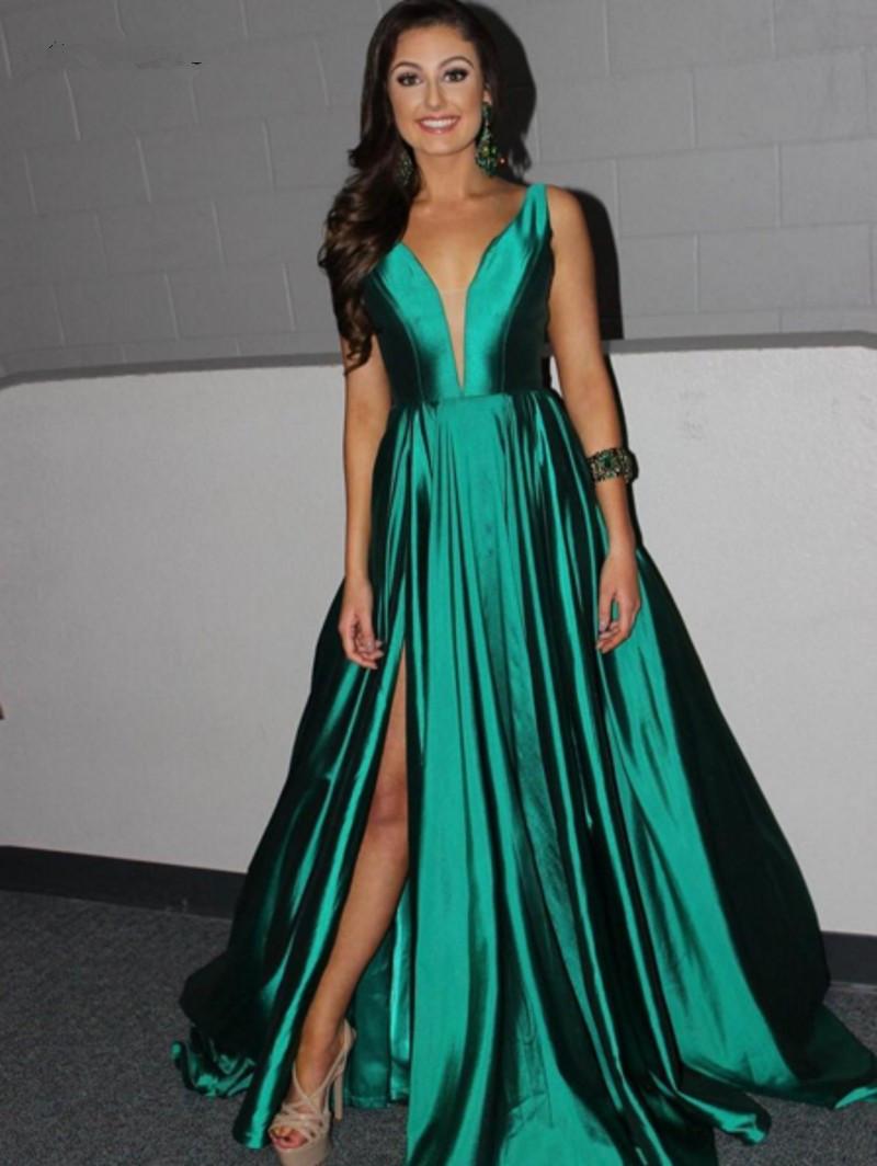 Emerald Green Prom Dress Prom Dresses,Long Green Satin Prom Dresses ...