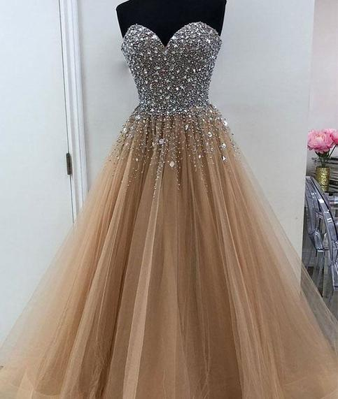 Sparkly Sweetheart Beading Champagne Tulle Long Prom