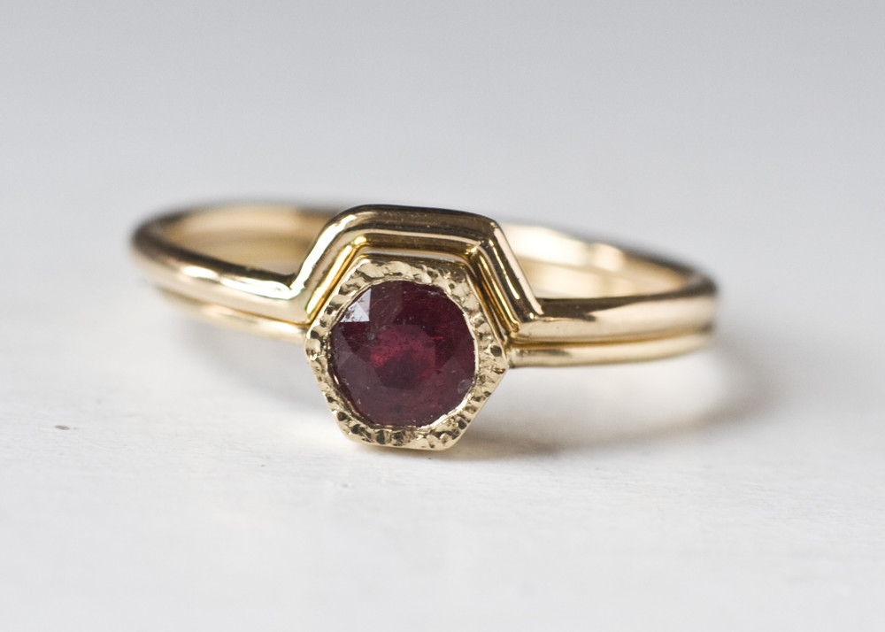 Ruby Engagement Ring Bridal Ring Set For Women Wedding Ring Set