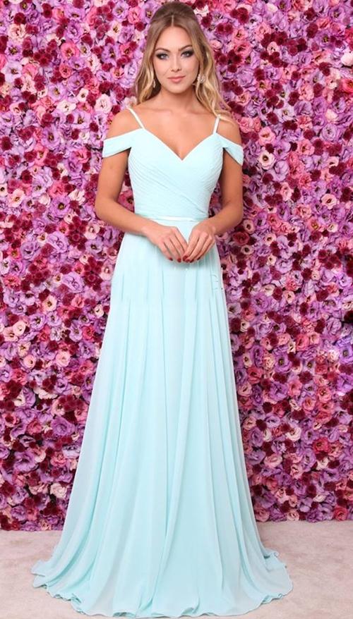 2018 Sexy Baby Blue Prom Dress,Off Shoulder Chiffon Prom Dresses ...
