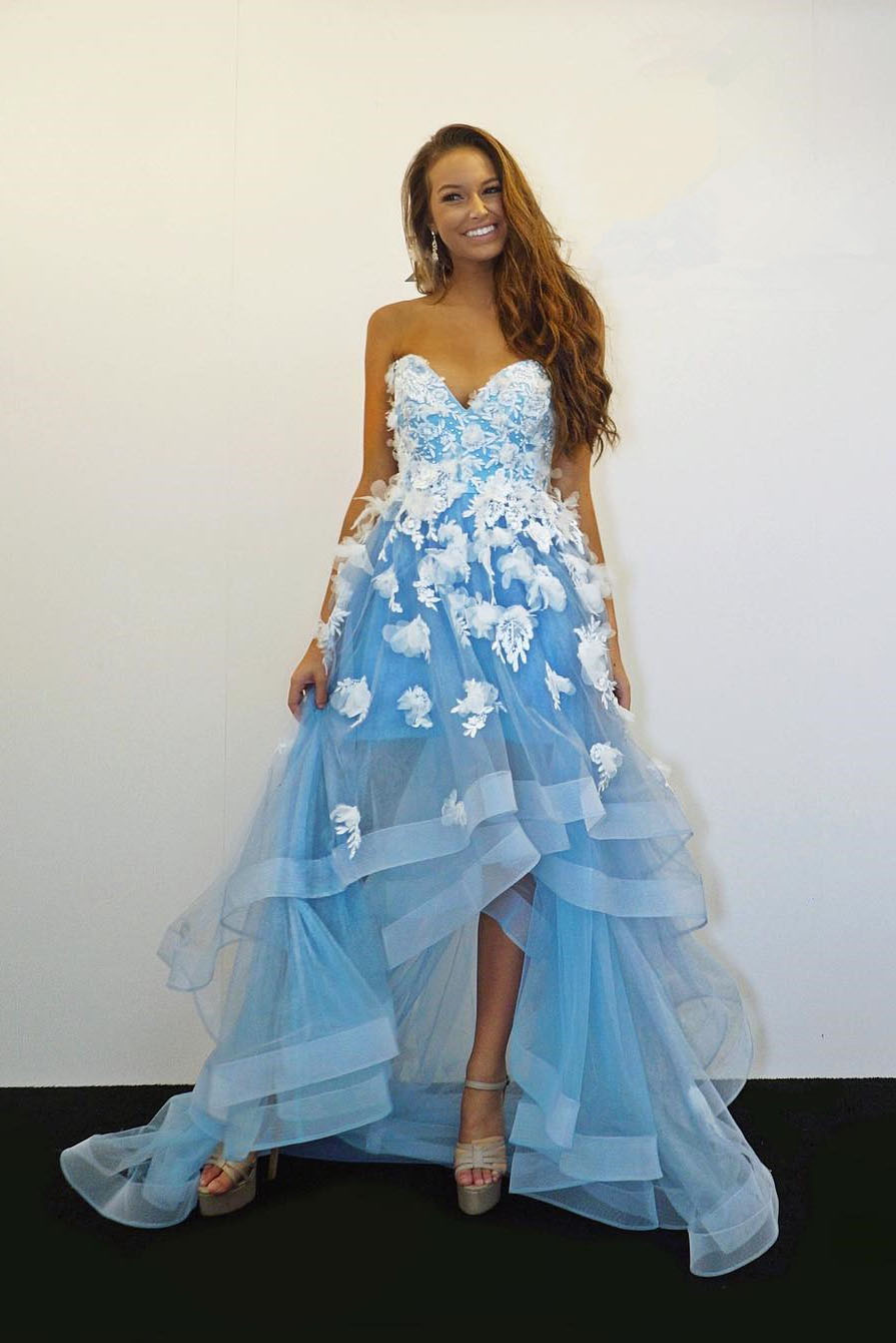 Sweetheart Light Blue High Low Prom Dress with White Lace ...