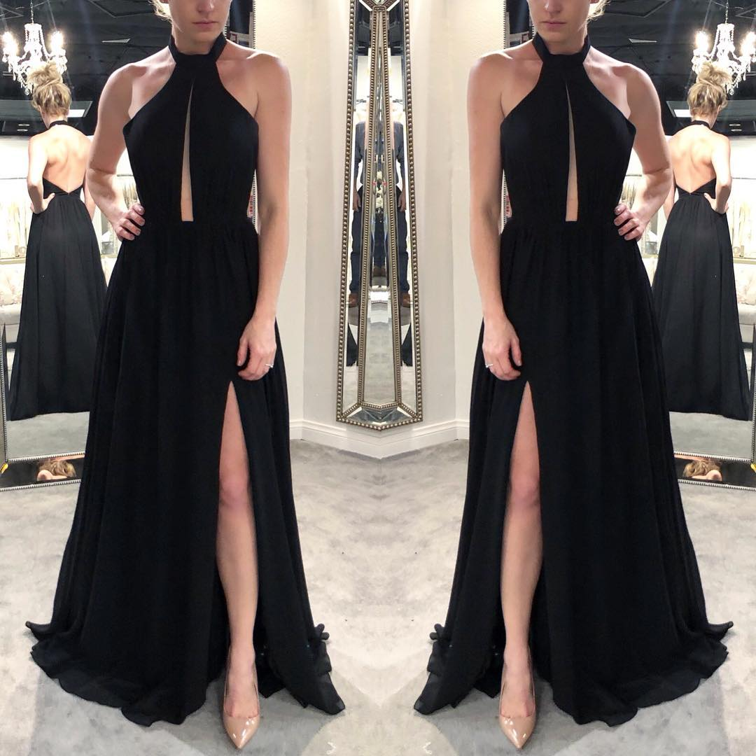 High Neck Formal Evening Gown Black Backless Long Party Dress With ...