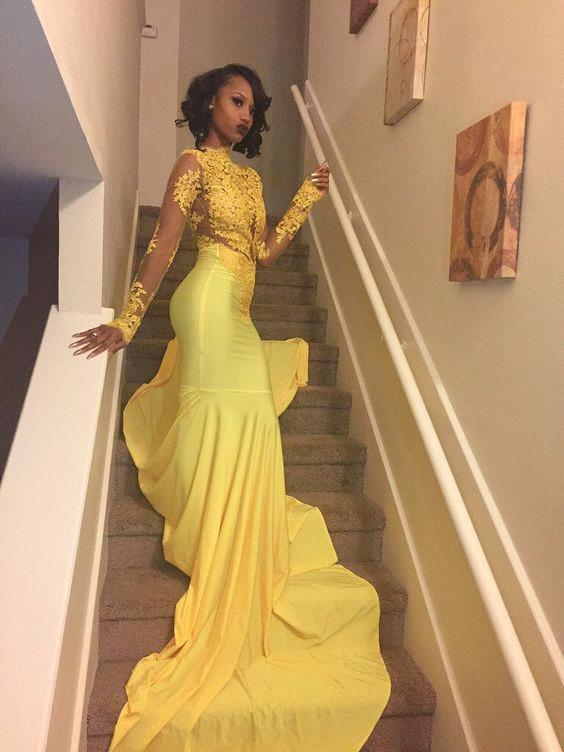 c9a8e57df33 ... Sexy Yellow Mermaid Prom Dresses
