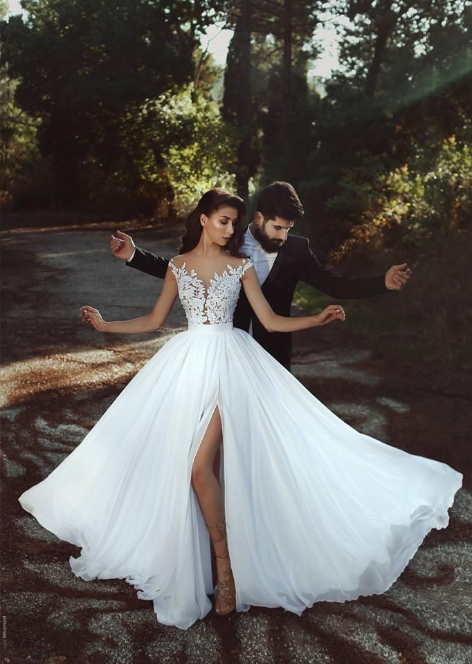 Simple Elegant Chiffon Beach Wedding Dresses Lace Bodice Side Slit ...
