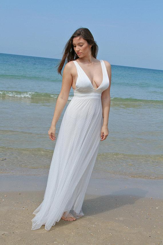 2018 Beach Wedding Dress, Wedding Dress, Boho Wedding Dress, White ...
