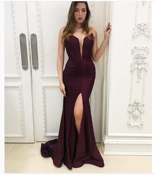 2018 Sexy Burgundy Prom Dress,V-neck Split Evening Dress Prom Dress ...