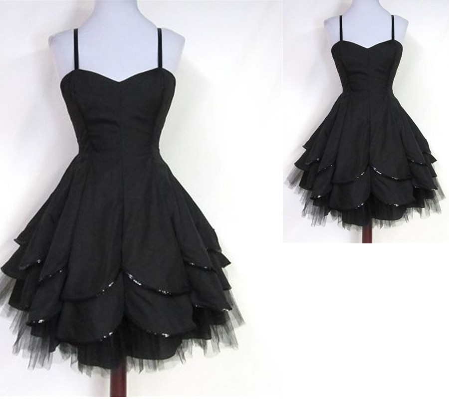 Spaghetti Straps Short Prom Dresses,Black Homecoming Dresses ...