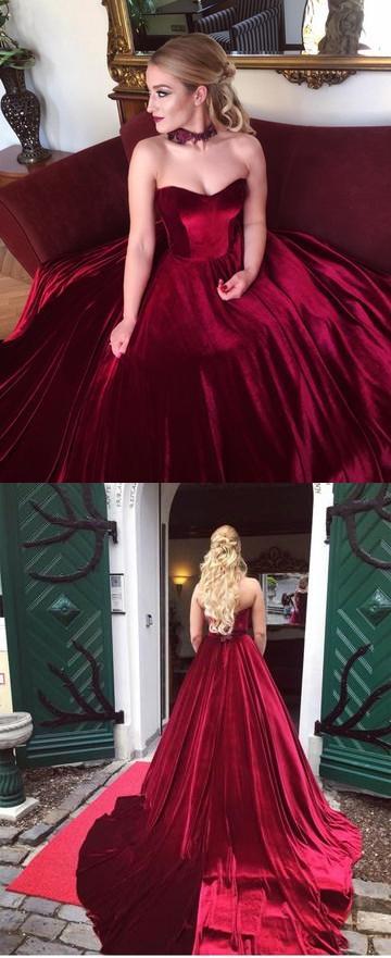 Burgundy Velvet Sweetheart Prom Gowns, Bodice Corset Ball Gowns ...