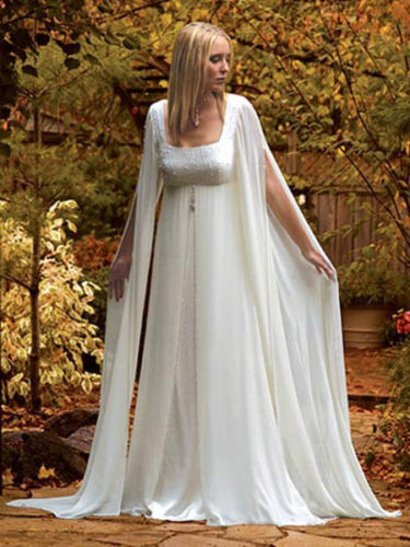 Stylish Mediaeval Long Sleeves Chiffon Wedding Dress Bridal Gown ...