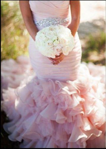 Mermaid Pink Wedding Dresses, Sweetheart Ruffle Wedding Dress ...