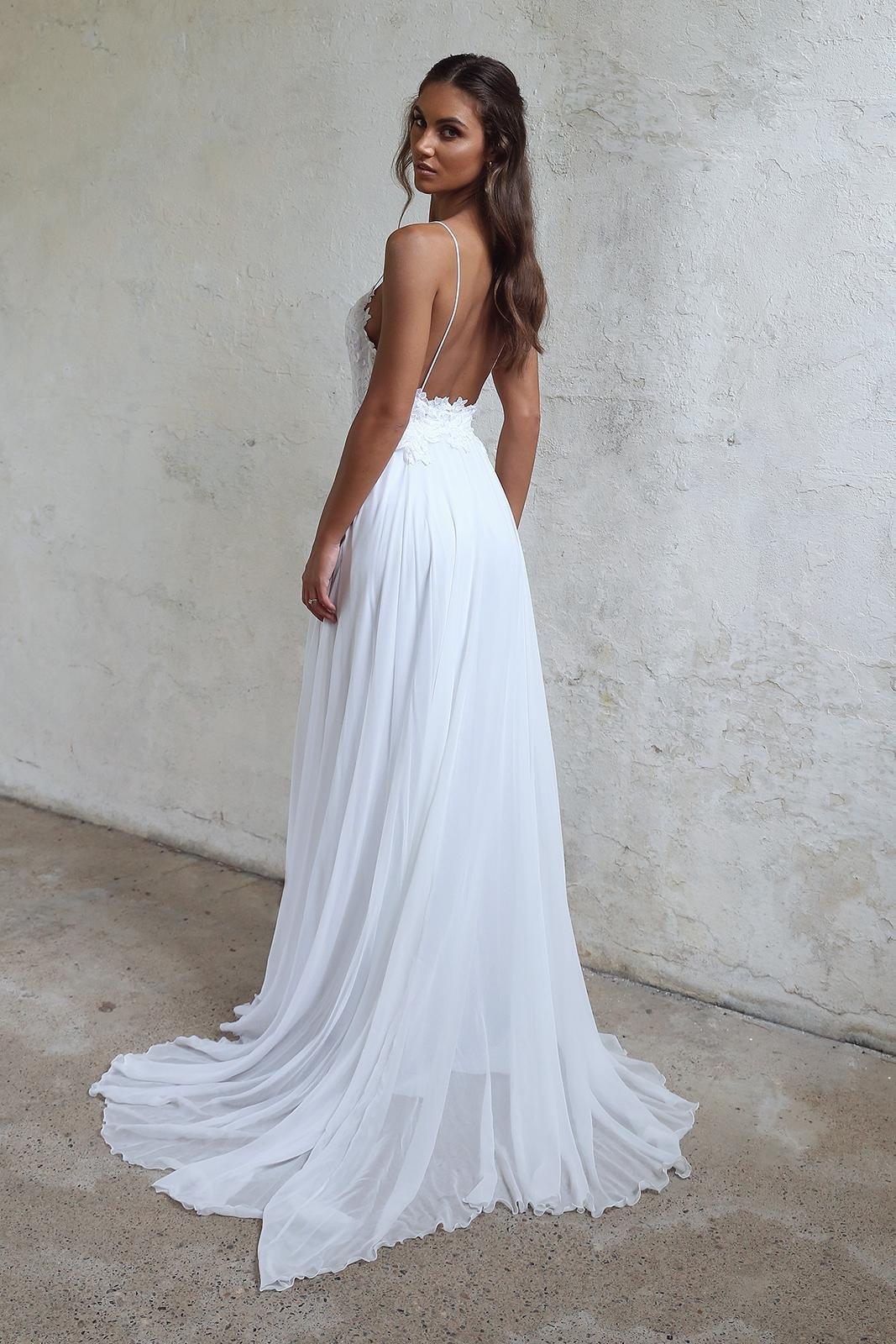 Simple White Lace Spaghetti Straps Wedding Dress,Long Chiffon ...