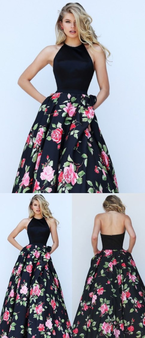 Black Floral Print Prom Dresses, Halter Top Prom Dresses, Charming ...