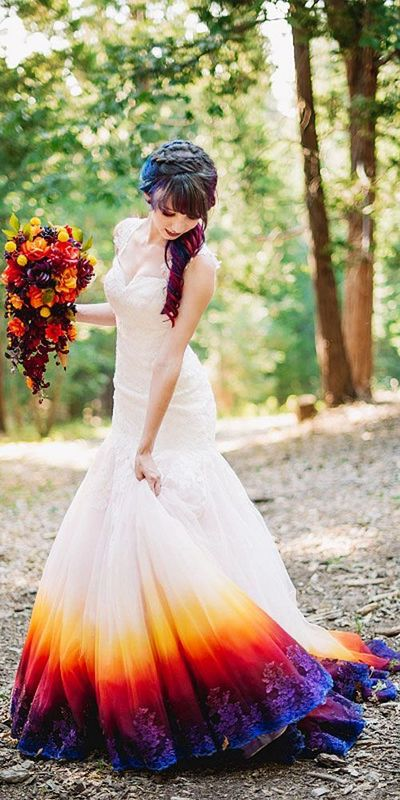 2018 Dye Colorful Wedding Dress, Long Wedding Dresses, Satin Wedding ...
