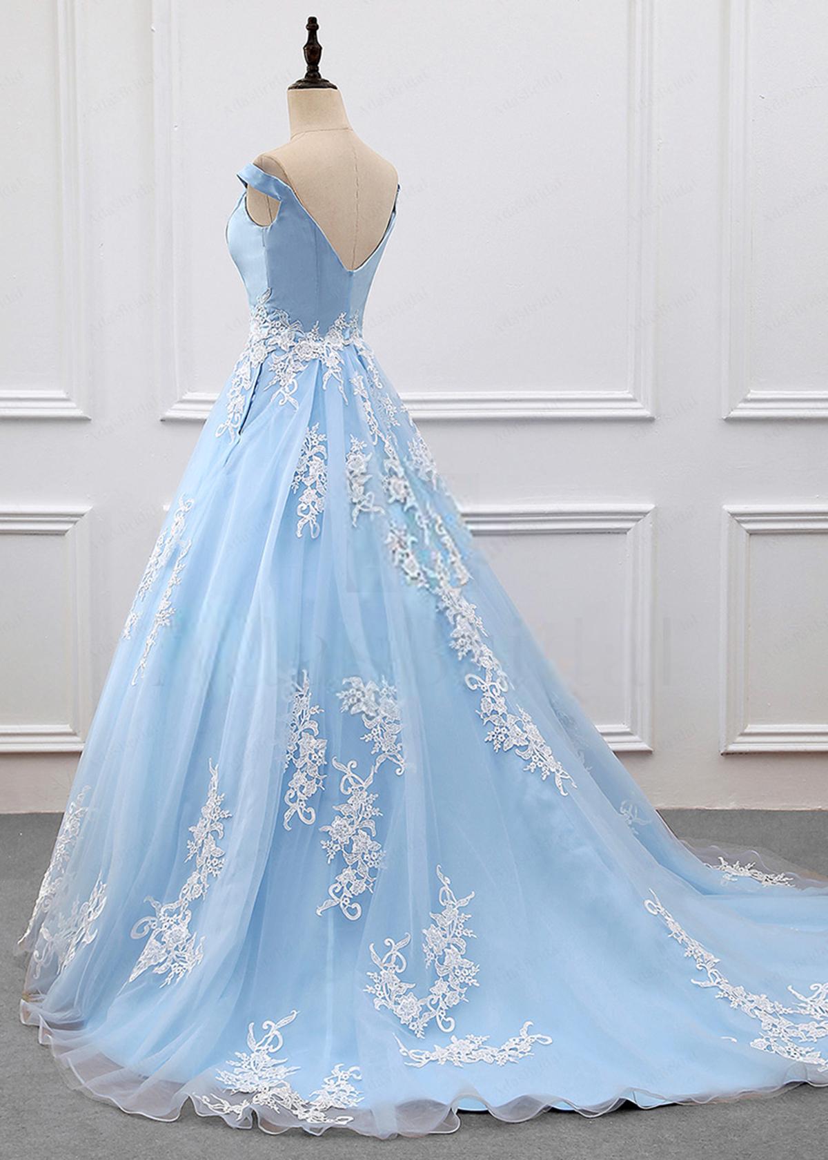 Blue tulle off shoulder V neck floor length evening dress, blue ...