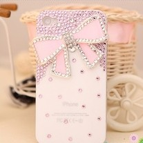 New Bling Big Pink Butterfly With Tiny Pink Crystals On White Case For iPhone 4