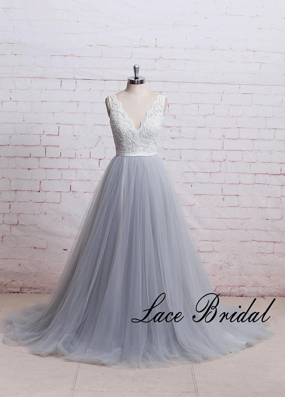 Romantic Dusty Blue A Line Tulle Lace Wedding Dress with Deep V ...