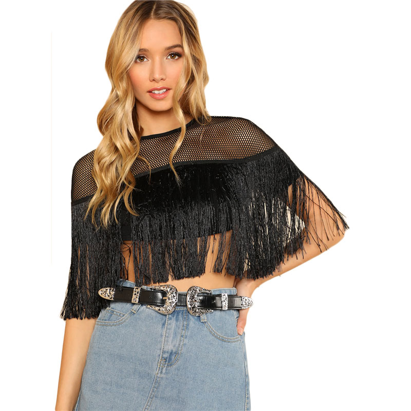 4c0b6c9d80 Mesh Yoke Fringe Slim Crop Top Black Round Neck Short Sleeve Women Plain  Tassel Blouse 2018