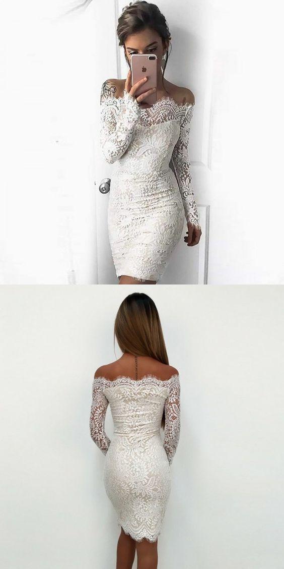 White Mermaid Short Prom Dresses, White Lace Homecoming Dresses ...