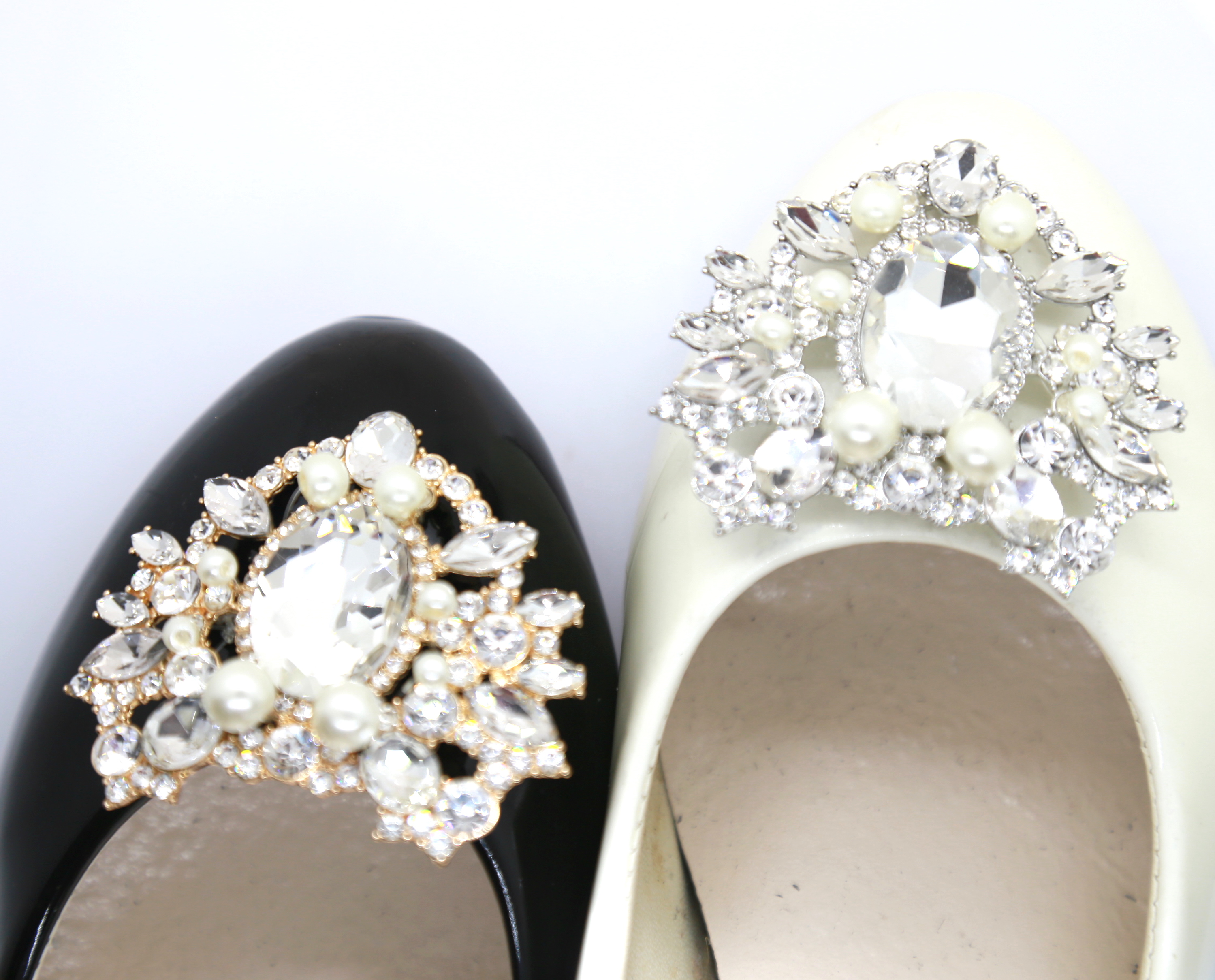 Gold Tone 2 X Wedding Shoe Clips Clear Rhinestone Crystal Pearl Shoe Clips Decoration