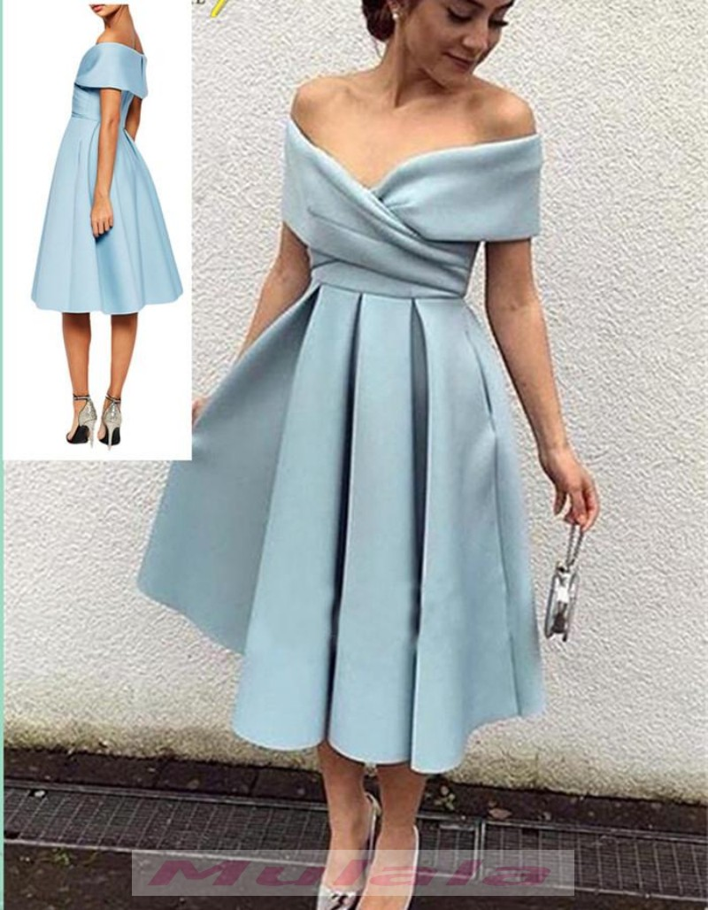 Off Shoulder Short Prom Dresses,Vintage Tea Length Homecoming Dress ...